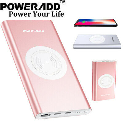 Poweradd 10000mAh Power Bank Qi Wireless Charging USB Portable Battery Charger