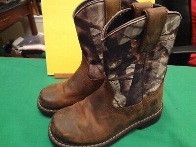 ea72adc3450 ARIAT WESTERN KIDS Brown leather mossy oak Camo cowboy Boots sz 13.5 ...