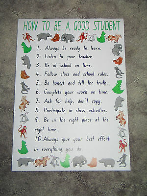 Teacher Resource Classroom A4 Poster HOW TO BE A GOOD STUDENT Primary Infants BN