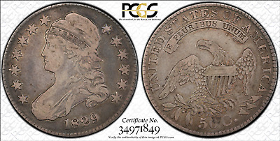 Capped Bust Liberty Half-Dollar 1829(P) PCGS VF20 True View