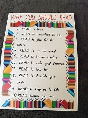 Teacher Resource Classroom Poster WHY YOU SHOULD READ Primary Infants High BN
