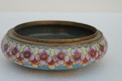Vintage Old Hand Crafted Brass Enamel Floral Design Ash Tray Collectible NH1653