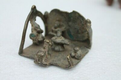 Antique Hindu Traditional Indian Ritual Bronze 'Family Of God Shiva' Rare NH1065