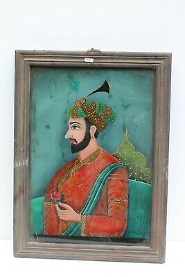 Vintage Old Hand Painted Indian Mughal Persian King Fine Glass Painting NH1581