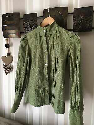 Vintage Laura Ashley 70's Blouse-Made In Wales-Green Victorian Style-collectible