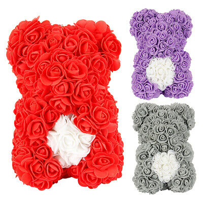 Cute Bear Lovely Big Red Rose Flower Bear Kids Toys Lovers Gifts UK