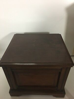 Antique Mahogany Comode with brass Scolloped Side handles +original pot and lid
