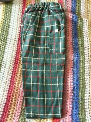"""Vintage Swando Kids Plaid Check Trousers L19"""" W18-21"""" Rare / Htf-Made In England"""