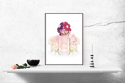 Home Decor Perfume Bottle Watercolour Print Poster Wall Art A4 Pink -1050