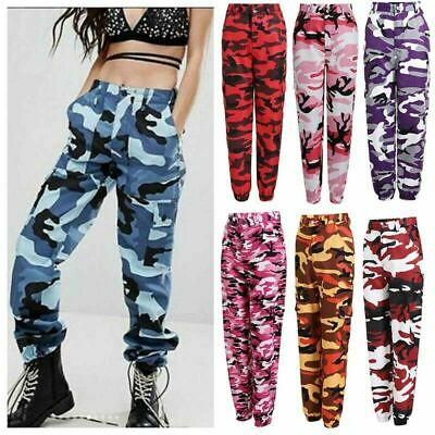 Women Ladies Camo Cargo Trousers Pants Military Army Combat Camouflage Printed