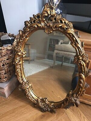 Antique Gold Plaster Wall Mirror Vintage French Boudoir Style Stunning