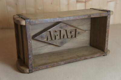 Vintage wooden brick mould with initials RAMA - planter, storage etc