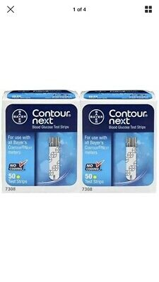 2 Boxes Of Contour Next Testing Strips 50 (100 Strips In Total) 1/2020