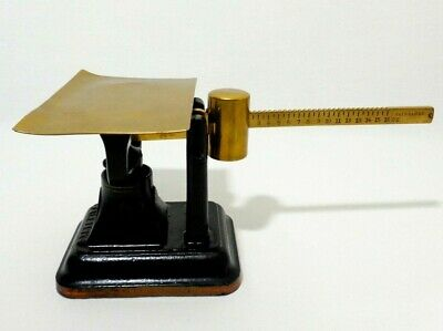 Rare Antique Fairbanks Painted Cast Iron Postal Scale W/Brass Tray, Arm, Weight