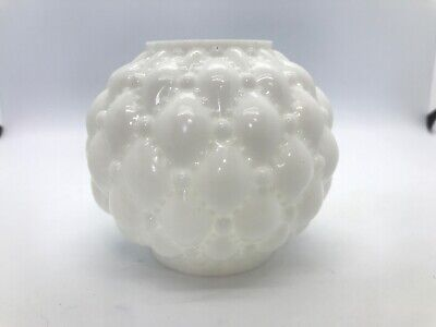 """Antique Miniature Oil Lamp Ball Form Shade White Diamond Quilt Pattern 3"""" Inches"""