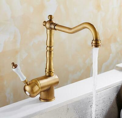 Bathroom Kitchen Sink Faucet Brass Mixer Hot Cold Swivel Spout Tap Deck Mounted