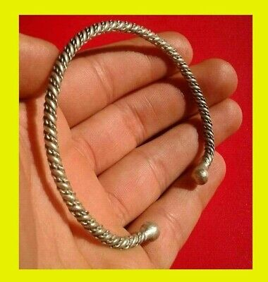 Genuine Ancient Celtic Solid Silver Bracelet With Engraved balls Head