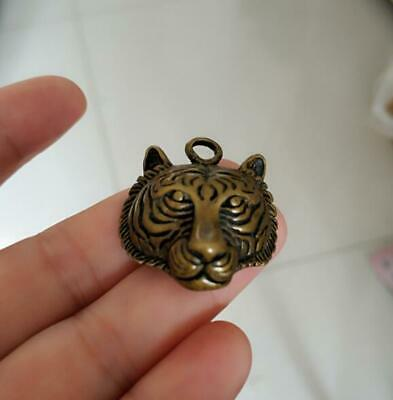 Collection Old Tibetan pure copper Handmade Tiger head bell Amulet Pendant