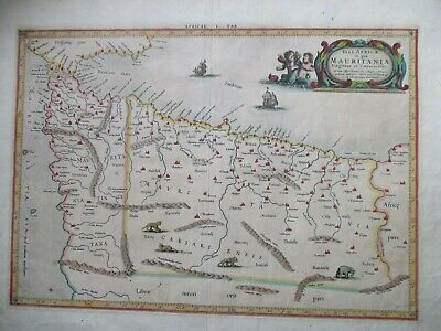 Antique map of N.W. Africa, Gibraltar, Ptolemy, Mercator 1730