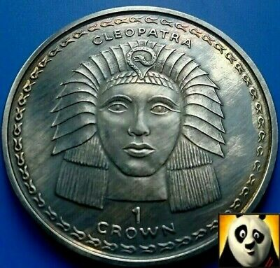 1997 Gibraltar 1 One Crown Cleopatra Queen of Ancient Egypt Antique Silver Coin