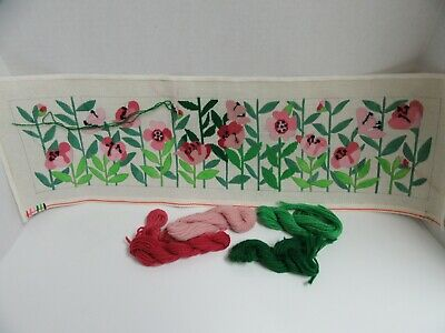 Needlepoint Canvas Panel Pink Floral Partially Worked 8x27 Flower Garden