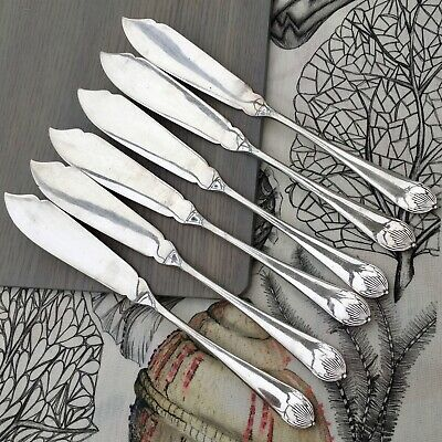 WALKER & HALL FISH KNIVES SET x6 QUEEN ANNE ANTIQUE A1 SILVER PLATED CUTLERY