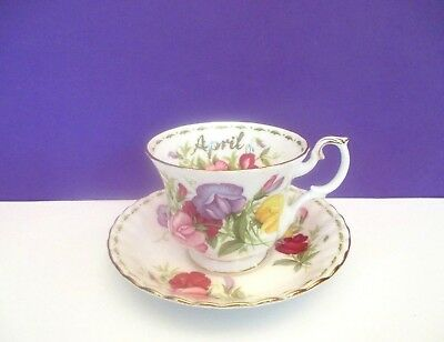 "Royal Albert Sweet Pea ""April"" Cup and Saucer, England"