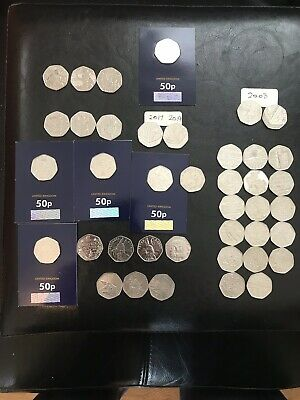 50p Job Lot - 40 Collectable 50p Coins including Some Rare Coins - Puddle-duck