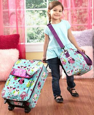 3 Pc Kids Luggage Sets Going to Grandma's Cars or Owls Rolling Bag Tote Pouch