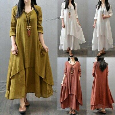 Dress Cotton Gypsy Boho Maxi Linen Peasant Dresses Sleeve Women Ethnic Long Sexy