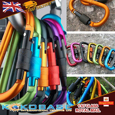 6x Coloured Carabiner Clip Snap Hook Small Keyring Camping Sports Karabiner UK