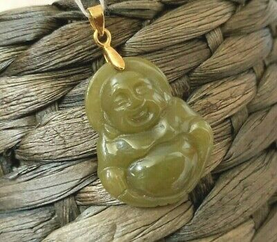 Yellow Male Happy Laughing Buddha Natural Jade Jadeite Gold plated Pendant Luck