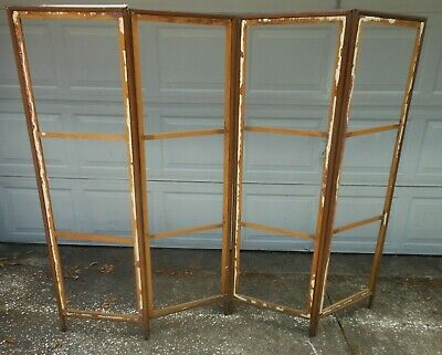 "Antique Folding 4 Panel Screen Room Divider 1890 -1910 Frame 61"" H  76"" W"