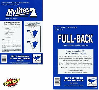 25 Mylites2 SILVER/GOLD Mylars Bags & Full Back 42pt Boards 775M2/750FB E.Gerber