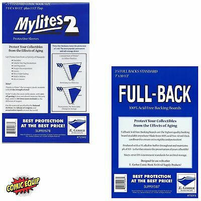 25 Mylites2 STANDARD Mylars Sleeves & Full Back 42pt Boards 725M2/700FB E.Gerber