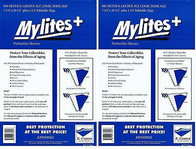 200 Mylites+ SILVER/ GOLD  1.4-mil Mylar Comic Bag Sleeves 775M+ by E. Gerber