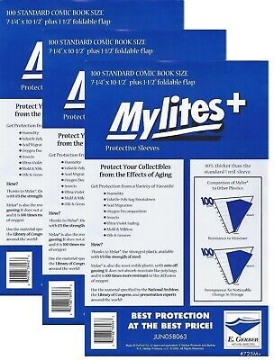 300 Mylites+ STANDARD SIZE  1.4-mil Mylar Comic Bag Sleeves 725M+ by E. Gerber