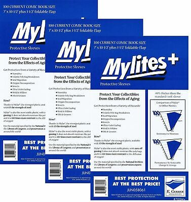 300 Mylites+ CURRENT SIZE (Modern) 1.4-mil Mylar Comic Bags 700M+ by E. Gerber