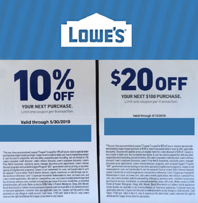 Lowes 10% OFF Coupon + $20 OFF $100 Coupon. In-store or online