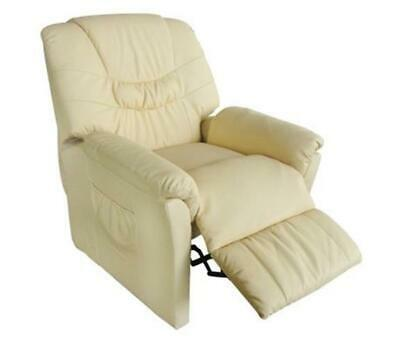 NEW Cream Artificial Leather Electric Remote Control Adjustable Massage Chair
