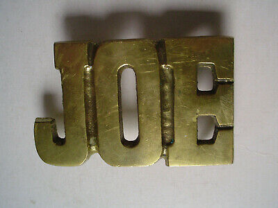 "VINTAGE Solid  Brass Belt Buckle name ""JOE"" Taiwan"