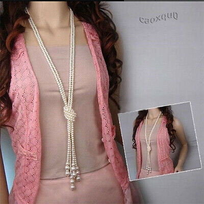 Fashion Rope Chain Necklace Beaded Pearl Long Bead Drop Freshwater White