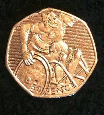 """2011 - LONDON 2012 OLYMPIC GAMES """"Wheelchair Rugby"""" 50p COIN RARE"""