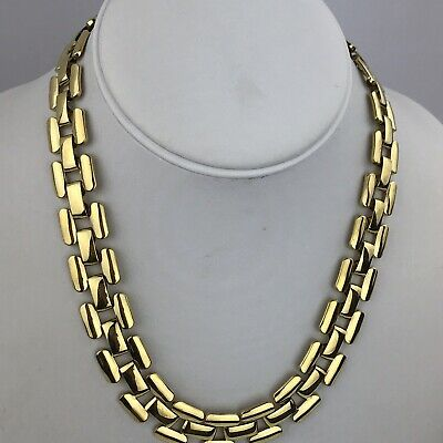 Vintage Napier Patent Statement Gold Tone Chunky Square Chain  Link Necklace