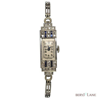 Charming ART DECO c1925 Platinum SAPPHIRE & DIAMOND WATCH - Working