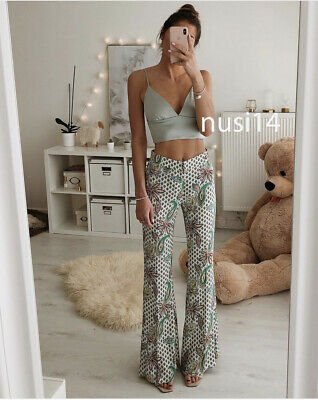 bc9c651f ZARA NEW SNAKE Print Trousers Ultra-Flared Wide Leg Pant Blogger Xs ...