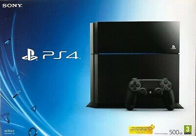 Sony PS4 Playstation 4 500GB Console Jet Black In Original Box With All Leads