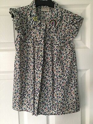NEXT Girls High Neck Multicoloured Floral Pattern Short Sleeved Blouse Age 9