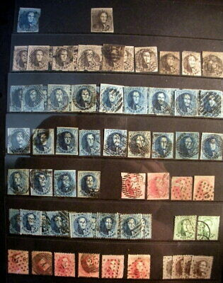 Belgium 1849-1865 Small Collection Epaulettes & Medallions Used (72 Stamps)