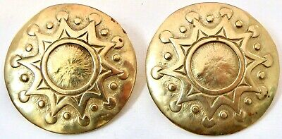 BEAUTIFUL Vintage JEEP COLLINS Hand-Crafted Brass SUN Disk Pierced Earrings